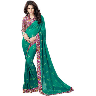 Jiya Green Georgette Printed Saree With Blouse