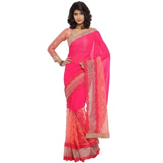 Triveni Pink Georgette Embroidered Saree With Blouse