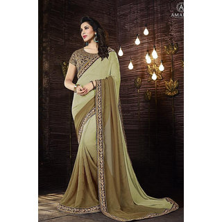 Deepfashion Cream Georgette Embroidered Saree With Blouse