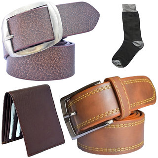 Sunshopping mens tan and brown leatherite needle pin point buckle belt combo with black socks and brown wallet (Pack of four)