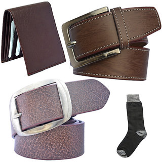 Sunshopping mens brown and brown leatherite needle pin point buckle belt combo with black socks and brown wallet (Pack of four) (Synthetic leather/Rexine)