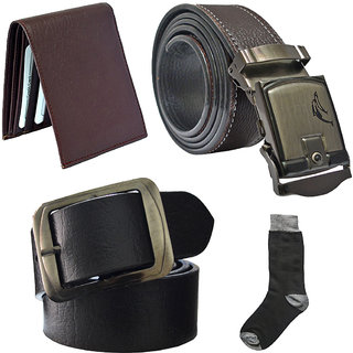 Sunshopping mens black leatherite needle pin point buckle with brown leatherite auto lock buckle belts combo with black socks and brown wallet (Pack of four) (Synthetic leather/Rexine)