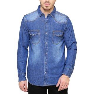 SBCLFS734 - Southbay Medium Blue Denim Long Sleeve Western Casual Party Shirt For Men