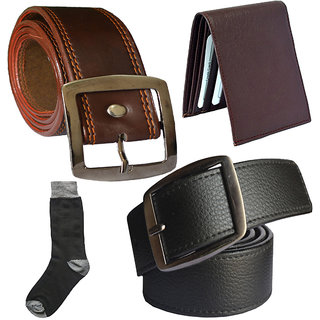 Sunshopping mens black and brown leatherite needle pin point buckle belt combo with black socks and brown wallet (Pack of four) (Synthetic leather/Rexine)