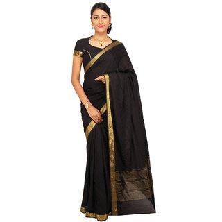Sudarshan Silks Black Crepe Self Design Saree With Blouse