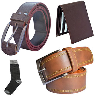 Sunshopping mens tan and brown leatherite needle pin point buckle belt combo with black socks and brown wallet (Pack of four) (Synthetic leather/Rexine)