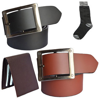 Sunshopping mens black and tan leatherite needle pin point buckle belt combo with black socks and brown wallet (Pack of four) (Synthetic leather/Rexine)