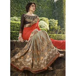 Swaron Peach & Orange Georgette Embroidered Saree With Blouse