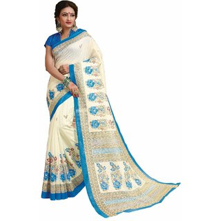 Sudarshan Silks White Cotton Self Design Saree With Blouse