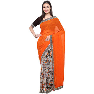 Kvsfab Multicolor Georgette Printed Saree With Blouse