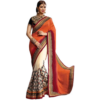 Deepfashion Orange Georgette Embroidered Saree With Blouse