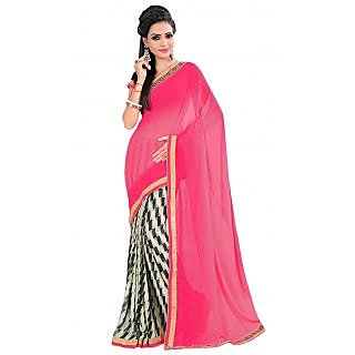 Triveni Beige Georgette Printed Saree With Blouse