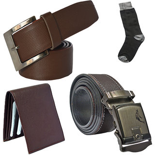 Sunshopping mens brown leatherite needle pin point buckle with brown leatherite auto lock buckle belts combo with black socks and brown wallet (Pack of four)