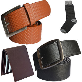 Sunshopping mens black and tan leatherite needle pin point buckle belt combo with black socks and brown wallet (Pack of four)
