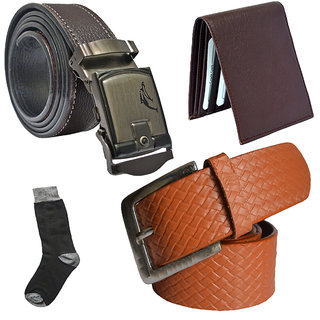 Sunshopping mens tan leatherite needle pin point buckle with brown leatherite auto lock buckle belts combo with black socks and brown wallet (Pack of four) (Synthetic leather/Rexine)
