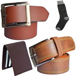 Sunshopping mens tan and tan leatherite needle pin point buckle belt combo with black socks and brown wallet (Pack of four)