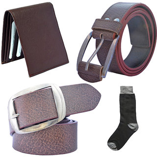 Sunshopping mens brown and brown leatherite needle pin point buckle belt combo with black socks and brown wallet (Pack of four)