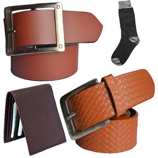 Sunshopping mens tan and tan leatherite needle pin point buckle belt combo with black socks and brown wallet (Pack of four) (Synthetic leather/Rexine)