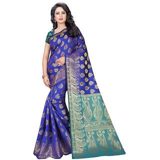 Fashions World Turquoise Banarasi Silk Floral Saree With Blouse