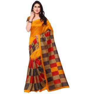 Styloce Orange Bhagalpuri Silk Printed Saree With Blouse