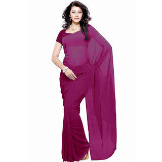 Khushali Fashion Pink Georgette Plain Saree With Blouse
