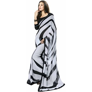 Shree Vardhman Black and Grey Georgette Unstiched Saree