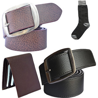 Sunshopping mens black and brown leatherite needle pin point buckle belt combo with black socks and brown wallet (Pack of four)