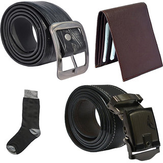Sunshopping mens black leatherite needle pin point buckle with black leatherite auto lock buckle belts combo with black socks and brown wallet (Pack of four)