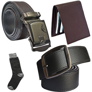 Sunshopping mens black leatherite needle pin point buckle with brown leatherite auto lock buckle belts combo with black socks and brown wallet (Pack of four)