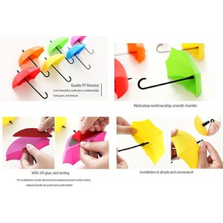 SNR Umbrella Shape Clothes Key Hat Holder Wall Hook Colorful Home Decoration Shelves Hanger Rack 3PCS/set