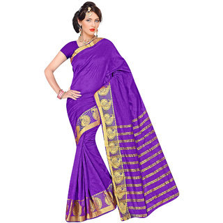 Triveni Purple Art Silk Self Design Saree With Blouse