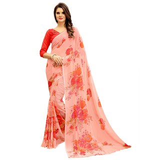 Fashion Storey Fancy Peach Georgette Saree
