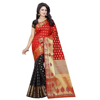 Meia Black Red Self Design Banarasi Silk Saree With Blouse