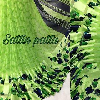 Mastani Green Satin Patta Digital Print Sarees With Blouse
