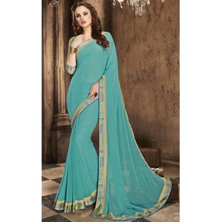 Sudarshan Silks Blue Georgette Embroidered Saree With Blouse
