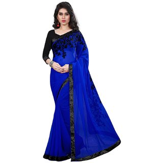 5ba4734f748 Buy Tiana Creation Blue Embroidered Georgette Saree With Blouse Online -  Get 67% Off