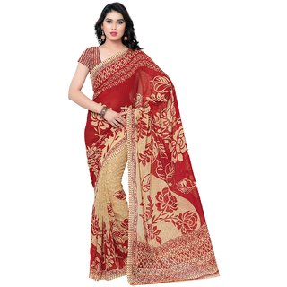 Meia Red Georgette Printed Saree With Blouse