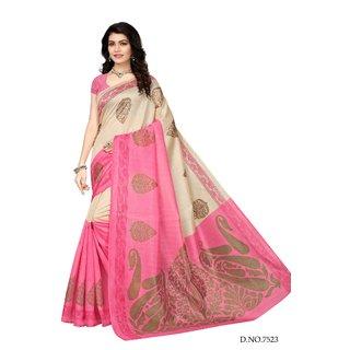 Womaniya Online Designer Cream  Pink Bhagalpuri Saree
