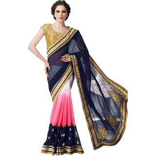 Swaron Navy and Pink Colored Embellished Chiffon Georgette Saree