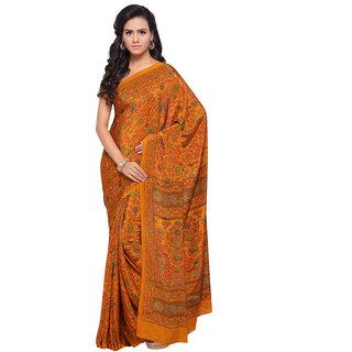 Swaron Orange and Multicolor Colored Printed Crepe Saree