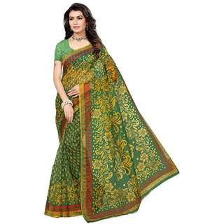 Womaniya Online Designer Green  Yellow Bhagalpuri Saree