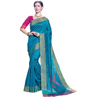 Triveni Sky Blue Tissue Festive Wear Woven Saree