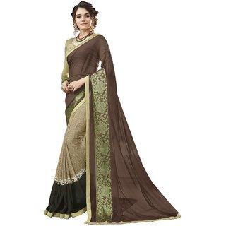 Triveni Brown Georgette Casual Wear Printed Saree