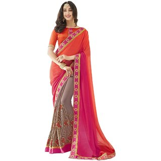 Triveni Multicolor Georgette Party Wear Embroidered Saree