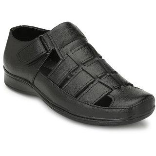 Real Blue Men's Black Buckle Sandals