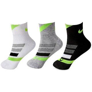 Nike Unisex Black , White, Grey Cushioned Elite Cotton Ankle Socks - 3 Pairs