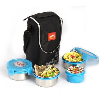 Cello Max Fresh Click Steel Lunch Box Set 4-Pieces Blue
