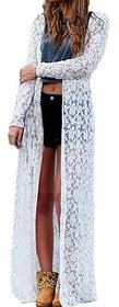 Shilpa Walecha White Long Shrug in Net/Lace