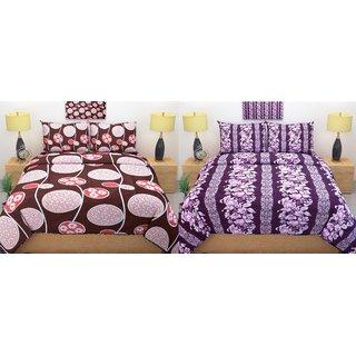 Premium furnishing cotton double bedsheet combo (2 double bedsheet 4 pillow cover)
