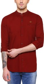 KACLFS1166 - Kuons Avenue Men's Solid, Printed, Floral Print Casual Cotton Mandarin Collar Red Maroon Shirt